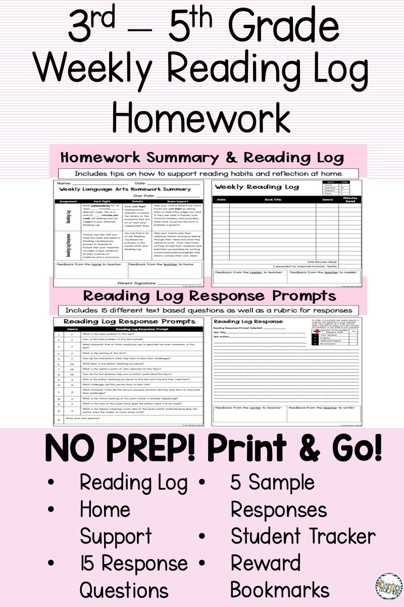 5th Grade Reading Log Easy Reading Log and Reading Response Homework Partially Editable