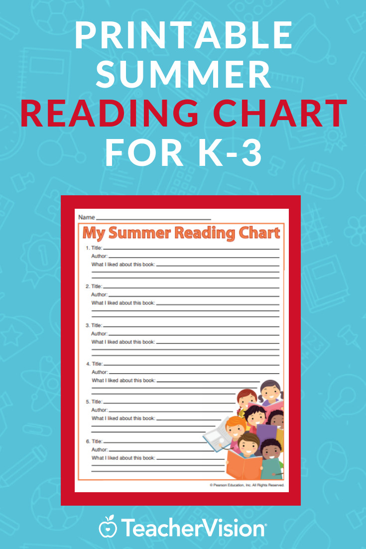 5th Grade Reading Log Professional Summer Reading Chart for Kids