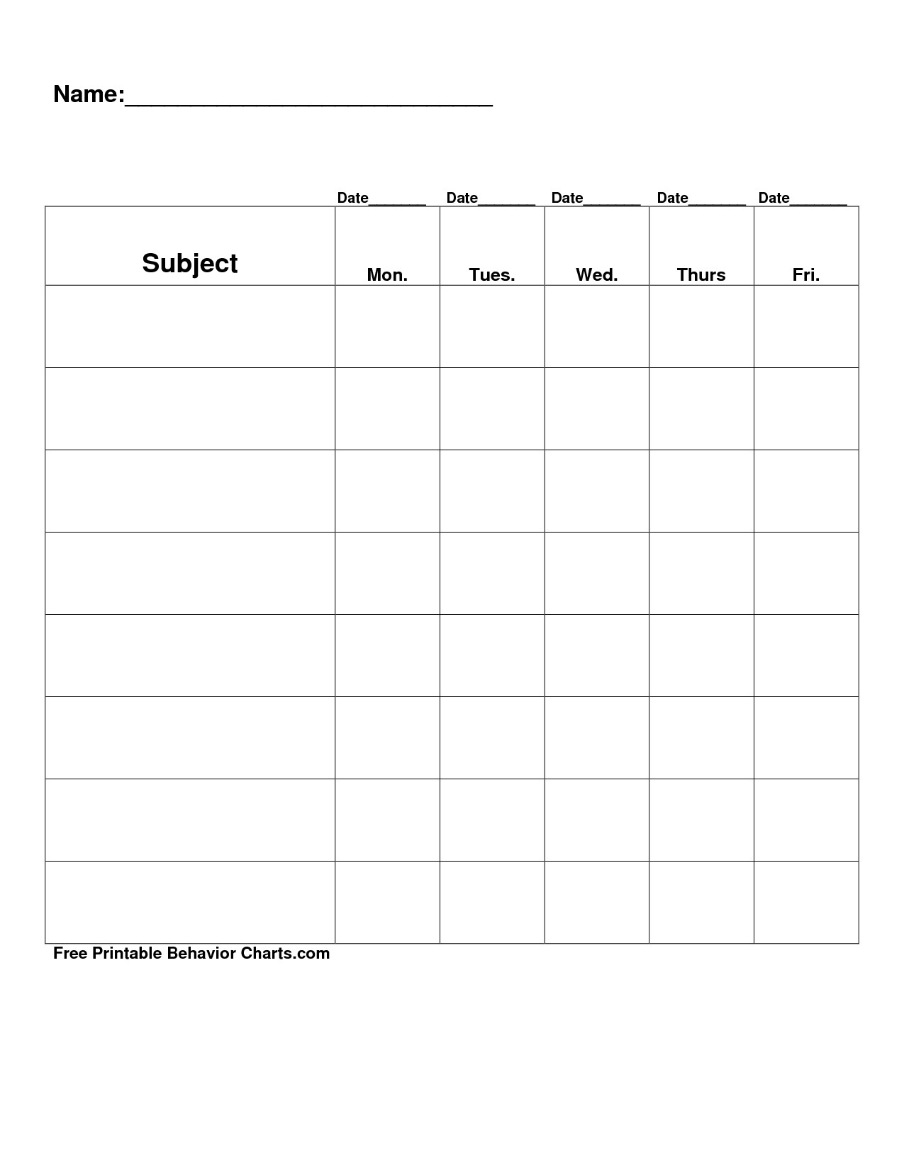 Behavior Monitoring Chart Easy Free Printable Blank Charts