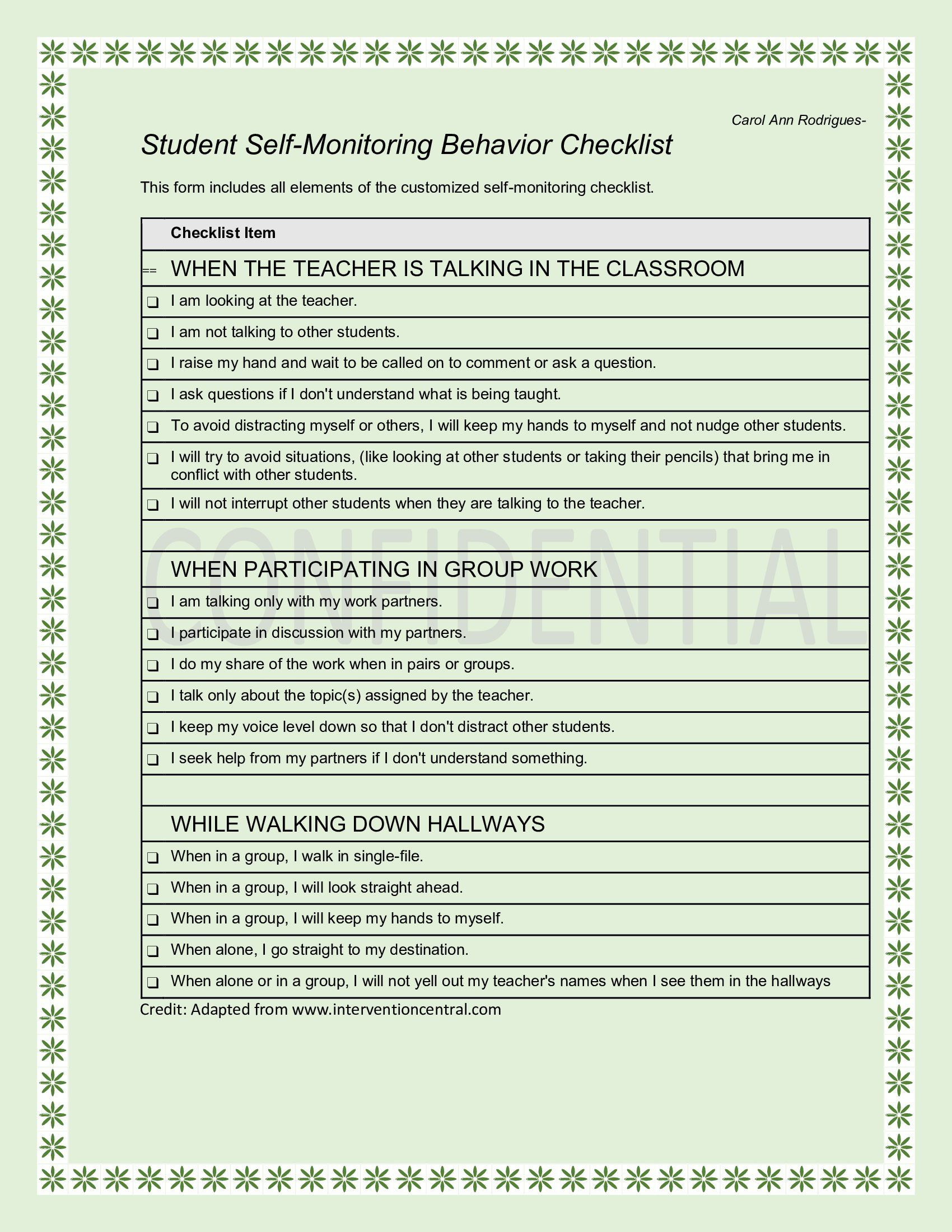 Behavior Monitoring Chart Excellent This is the Self Monitoring Behavior Checklist I Made for