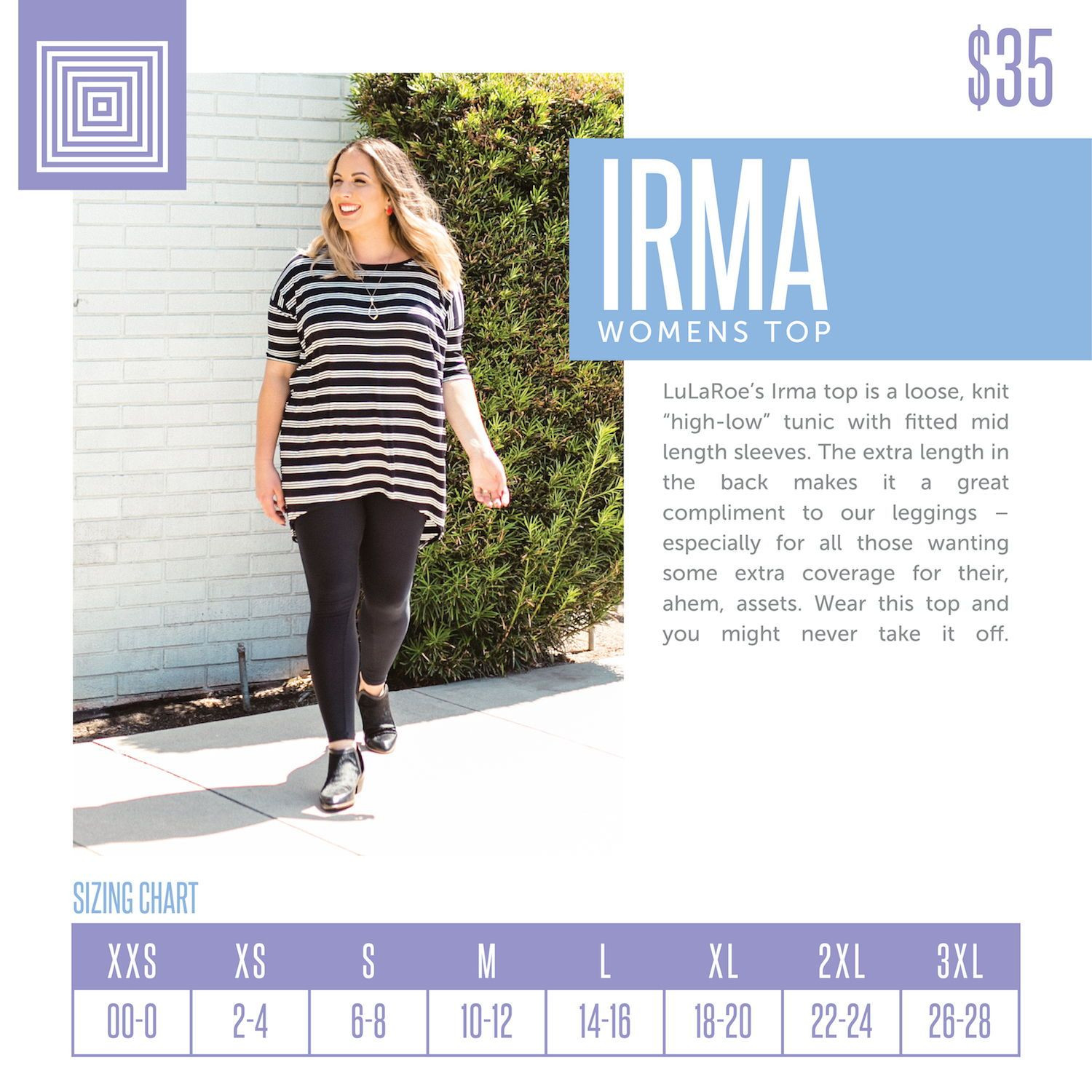 Clothing Size Chart Perfect Women S Lularoe Irma Tunic top Size Chart Including 2018