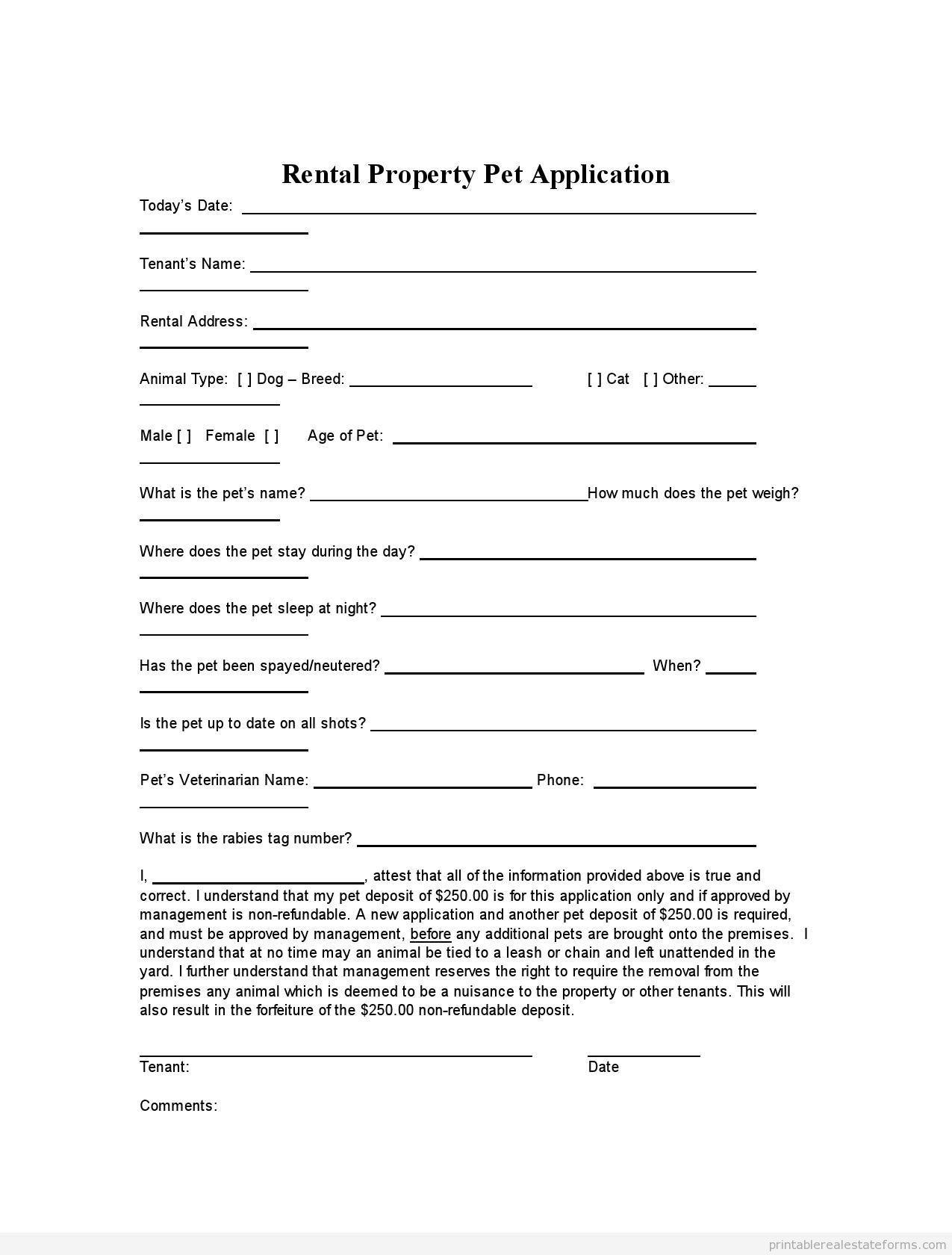 Contractor Application form Photos Of Printable Rental Property Pet Application Template 2015