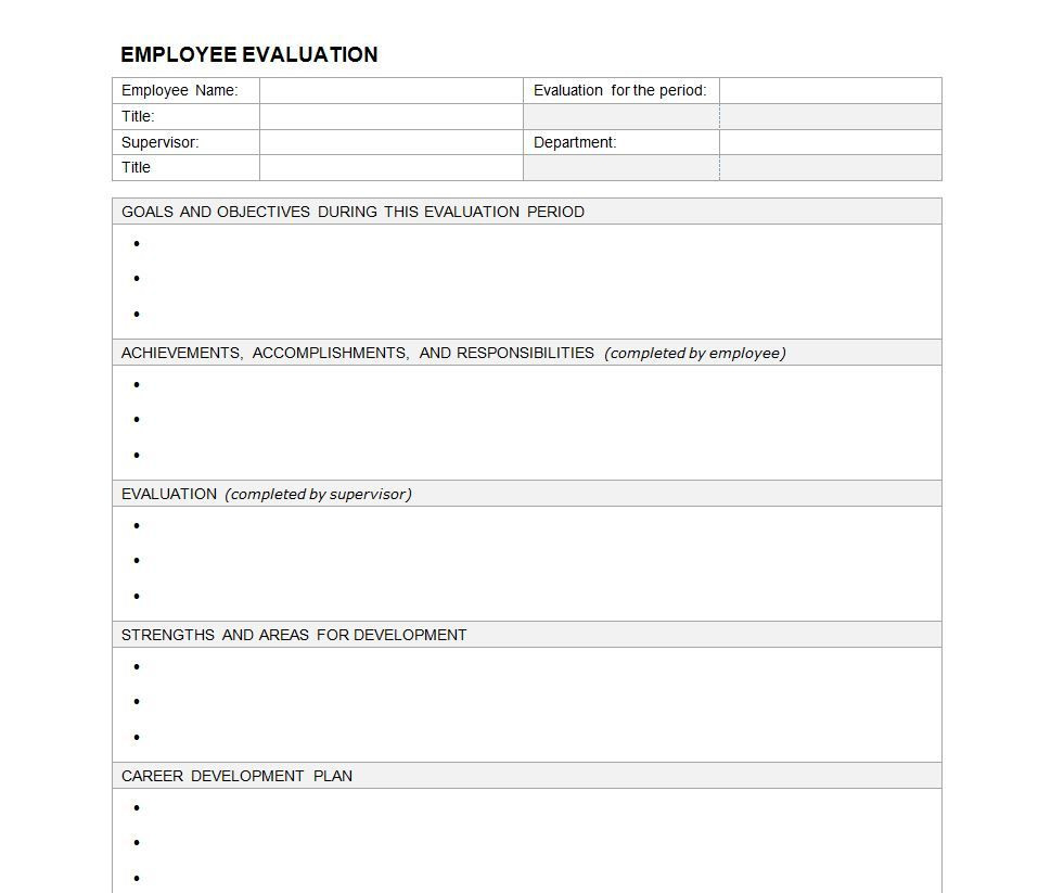 Employee Evaluation form Creative Performance Evaluation Template