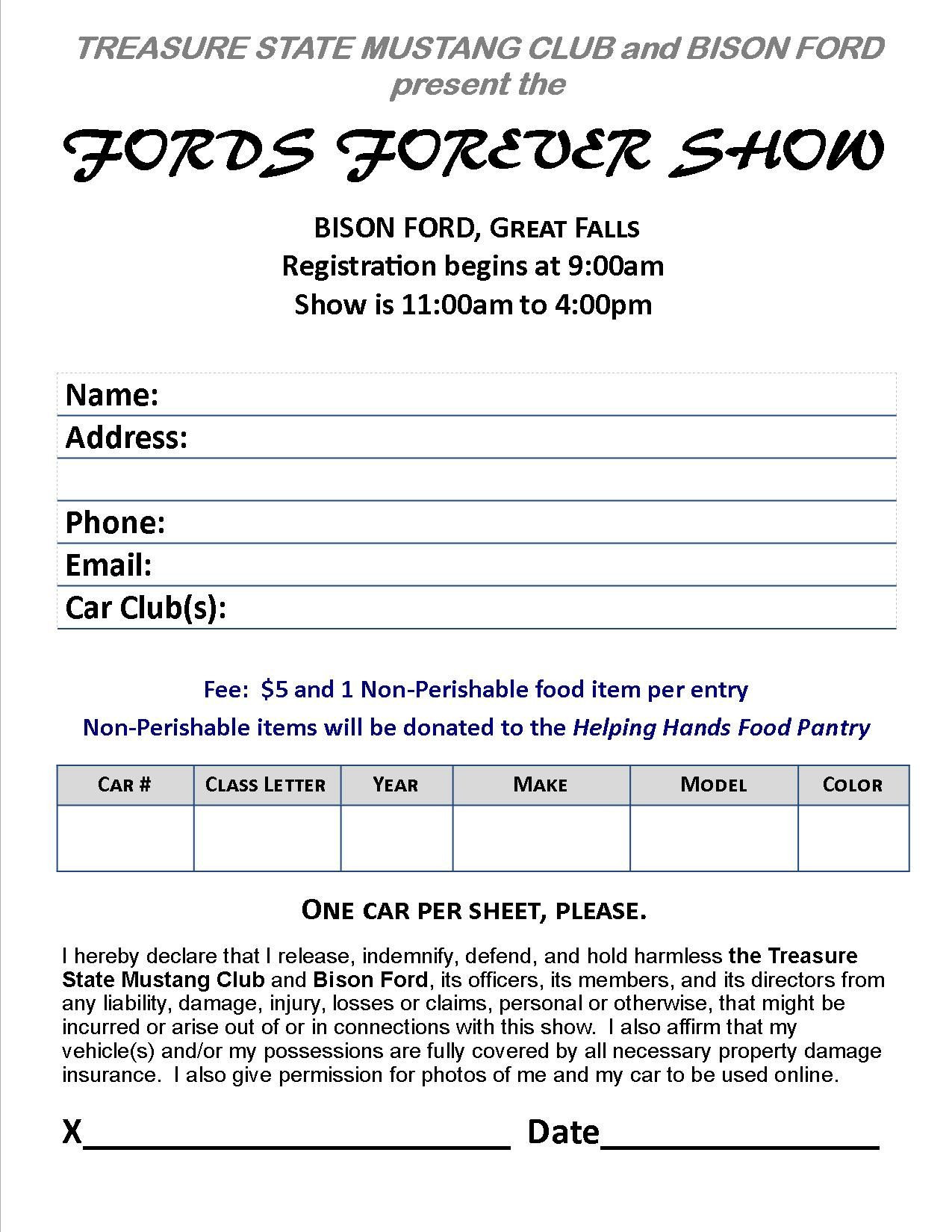 Food Sign Up Sheet Nice 2015 fords forever Car Show Registration form to Pre