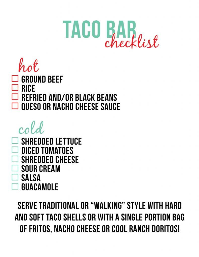 Food Sign Up Sheet top Taco Bar Checklist Little Baby Seed In 2019