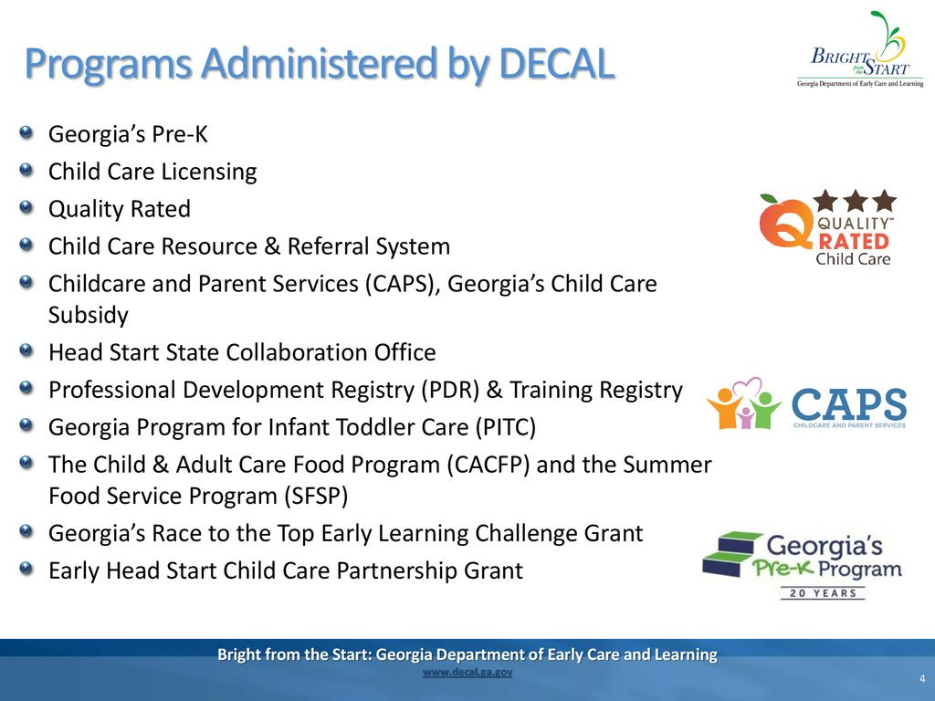 Georgia Department Of Early Care and Learning top Childcare and Parent Services Caps Ppt