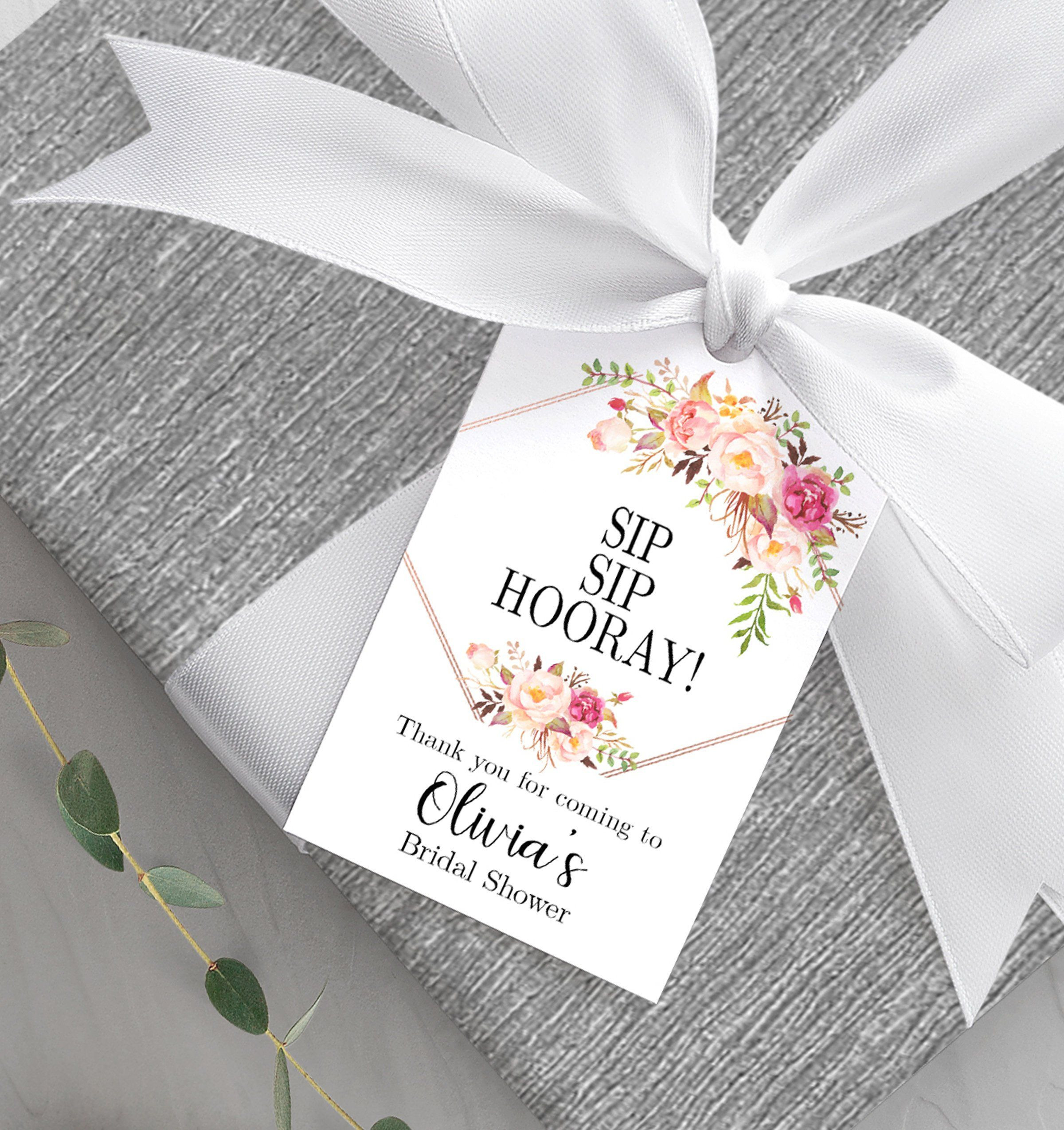 Gift Tag Template Unique Bridal Shower Favor Tag Printable Sip Sip Hooray Tag