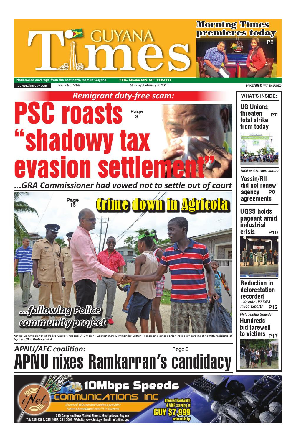 Guyana Department Of Public Information Nice Guyana Times Daily February 9 2015 by Gytimes issuu