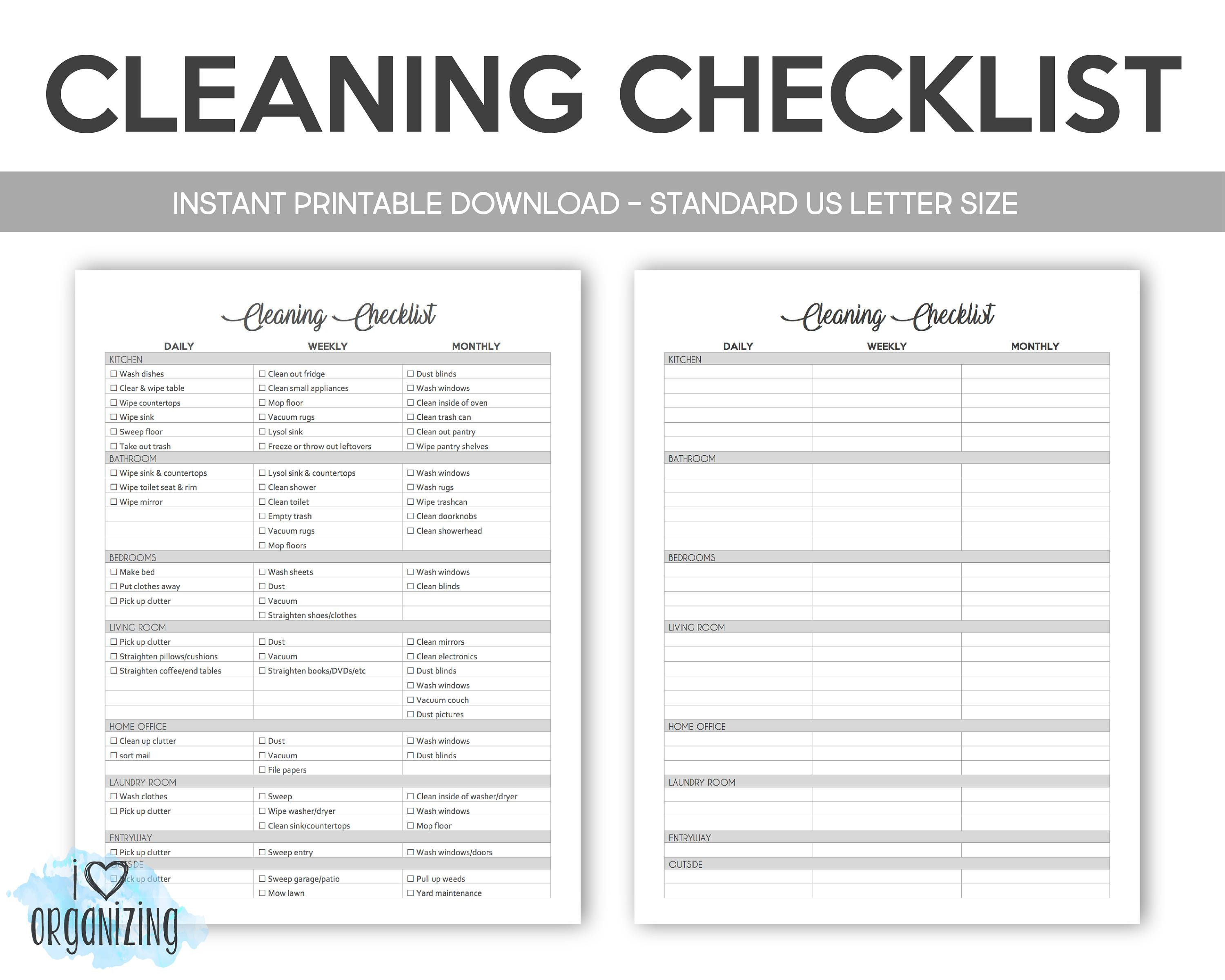 House Cleaning Schedule Ideal Cleaning Checklist Home Management Binder Letter Size