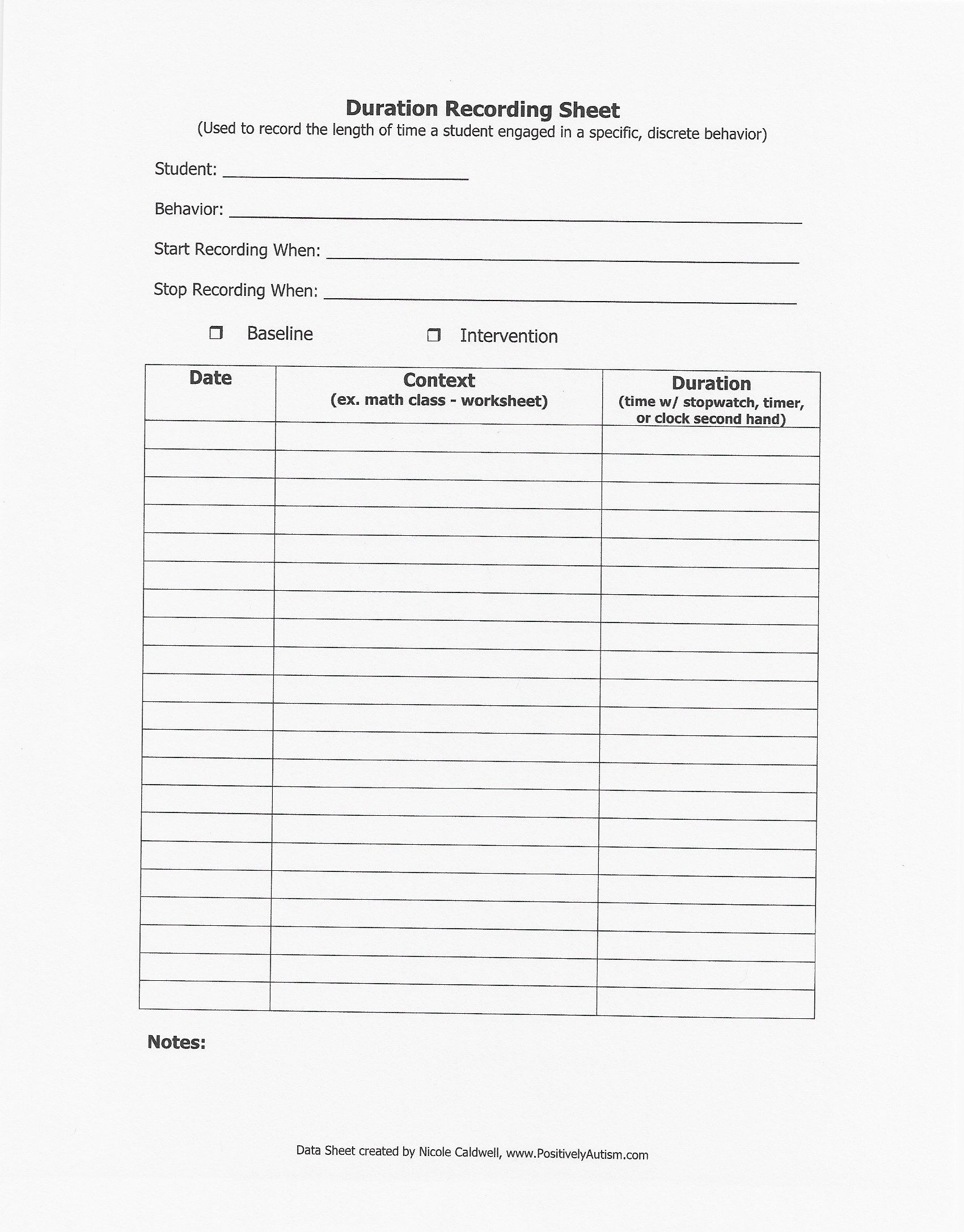 Iep Goal Tracking Sheets Creative Duration Recording Sheet
