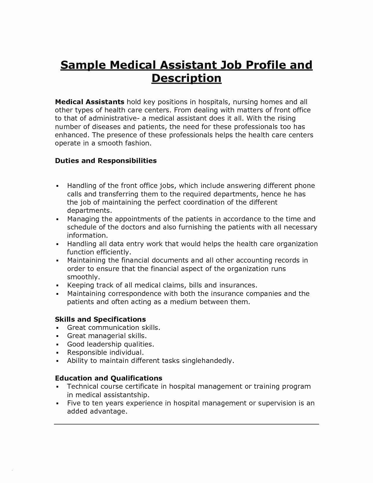 Job Analysis Template Simple Medical assistant Responsibilities Resume Recent Medical