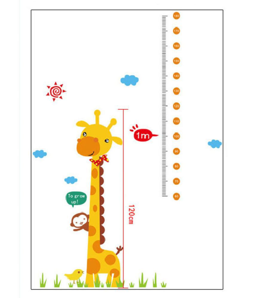 Kids Height Chart Awesome Kids Height Chart Wall Sticker Home Decor Cartoon Giraffe