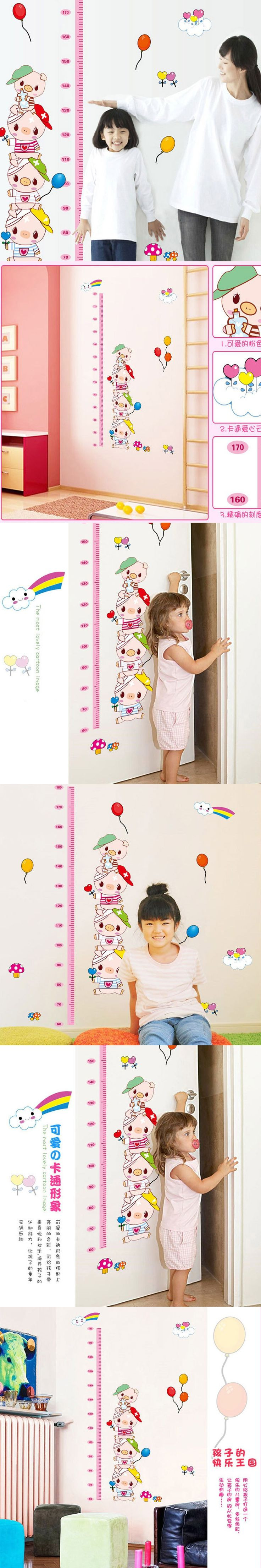 Kids Height Chart Professional Kids Growth Chart Wall Sticker Rainbow Cottages Turtle Hot