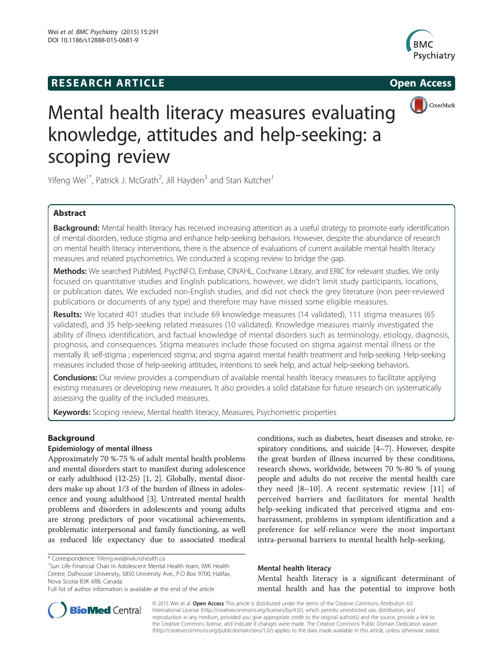 Mini Mental Status Exam form Creative Mental Health Literacy Measures Evaluating Knowledge