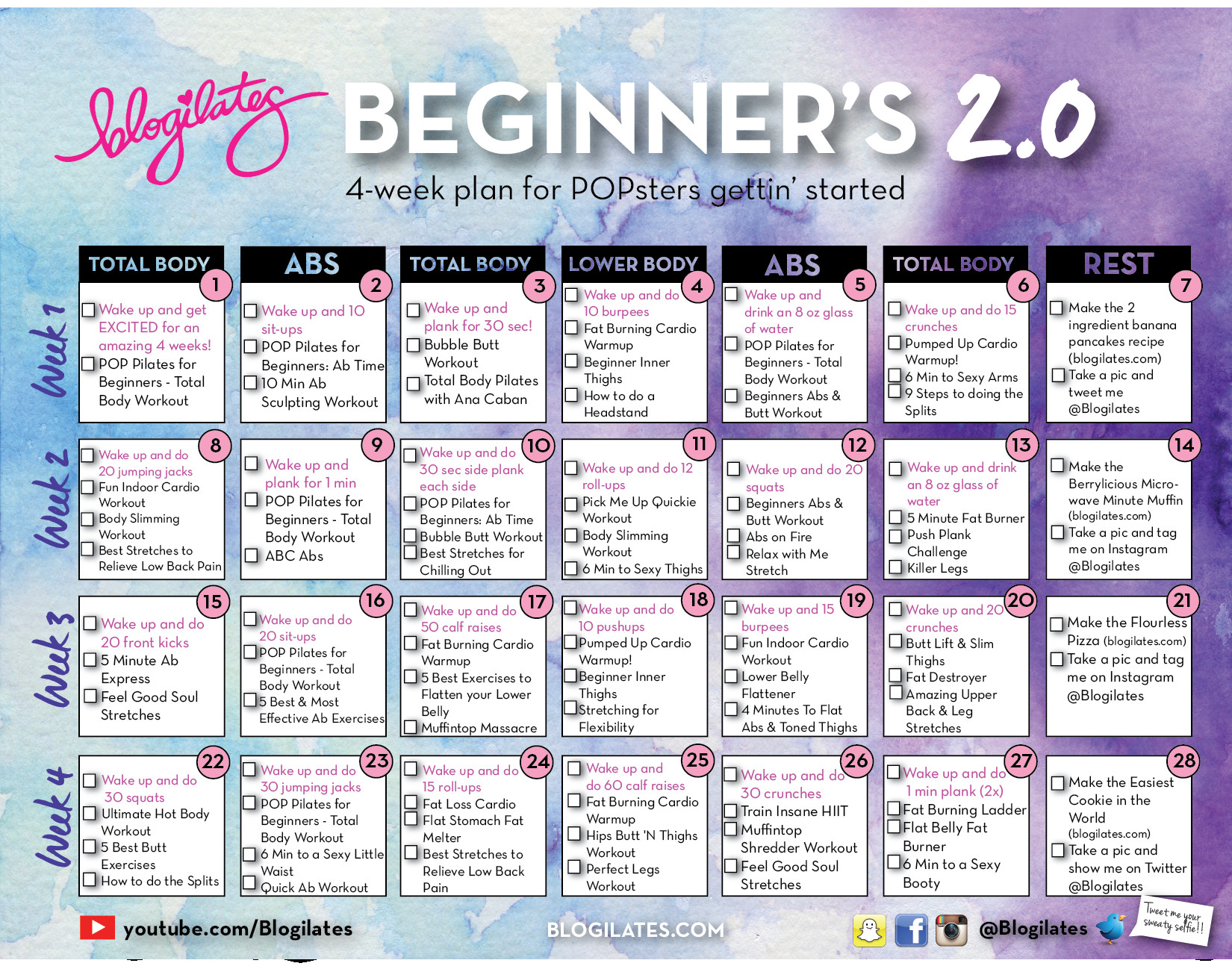 Monthly Workout Schedule Ideal New Beginners Calendar 2 0 – Blogilates