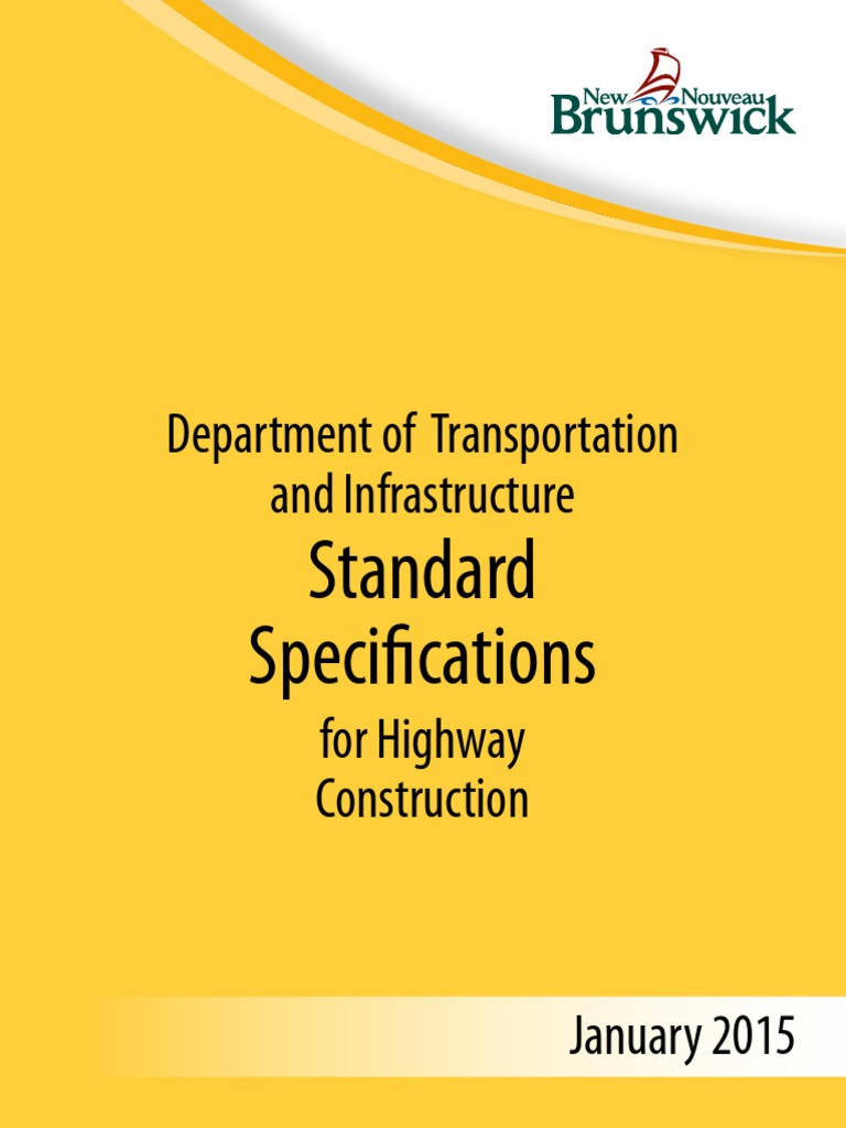 New Brunswick Department Of Transportation and Infrastructure Nice Standard Speficification Department Of Transportation and