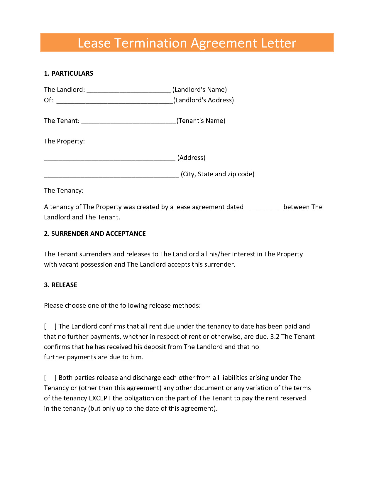 Notice Of Termination Of Tenancy form Awesome Landlords Contract Template Sample Tenancy formal Early