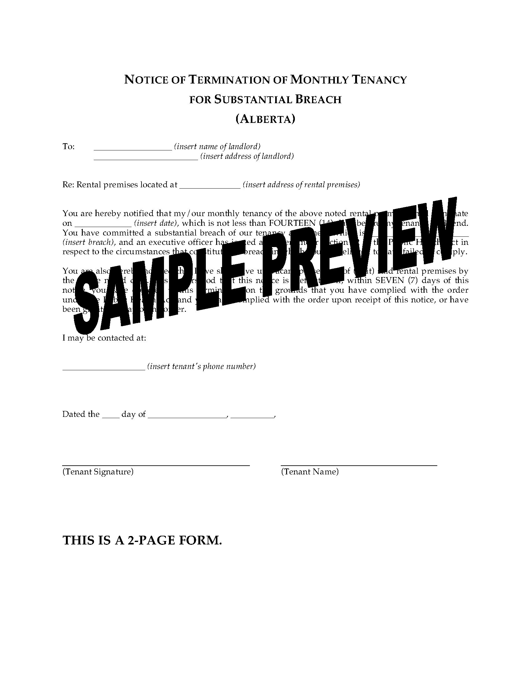 Notice Of Termination Of Tenancy form Excellent Alberta Notice Of Termination Of Tenancy Breach by Landlord