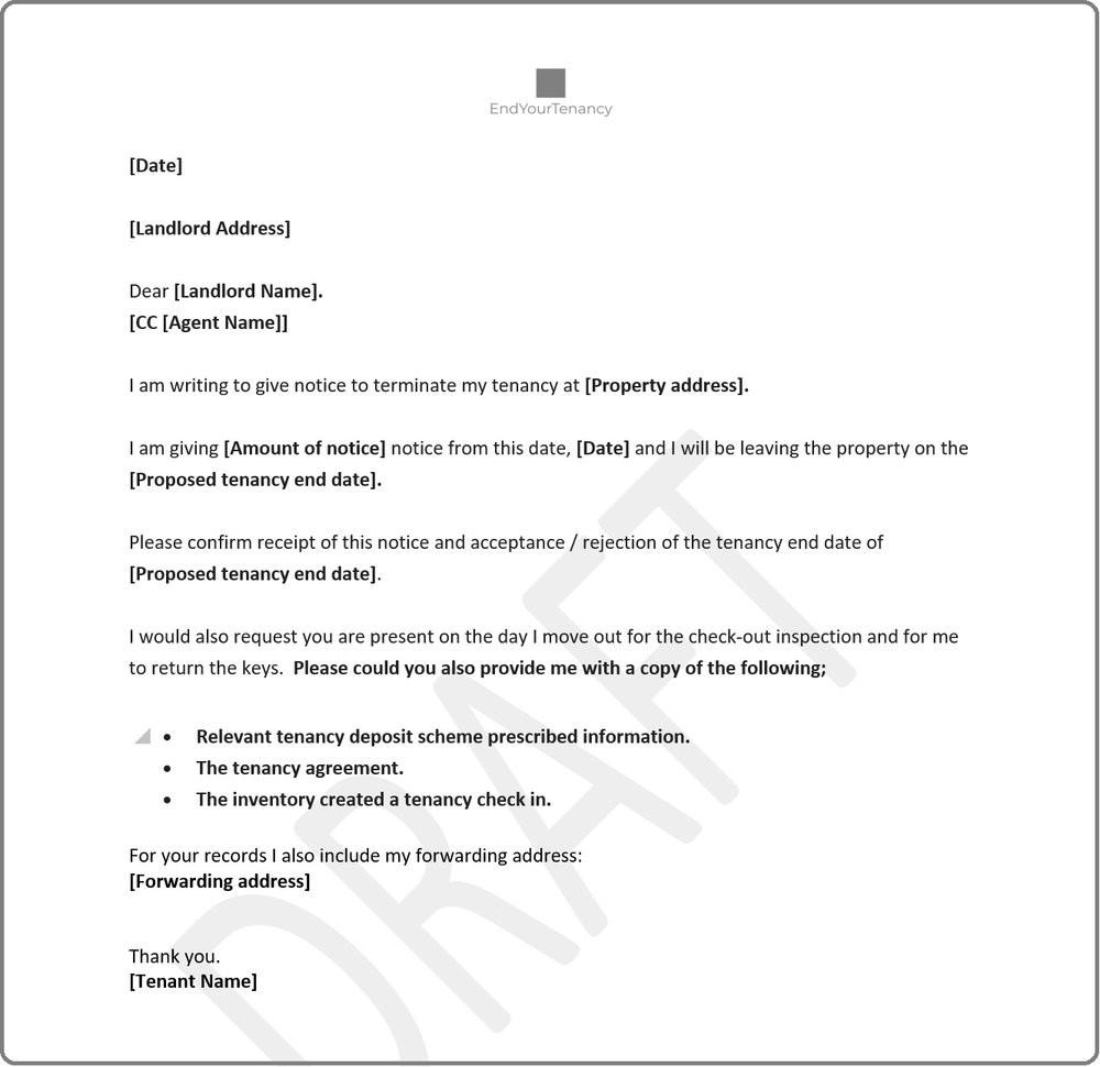 Notice Of Termination Of Tenancy form New Tenants Notice to End Tenancy Template Letter Uk to