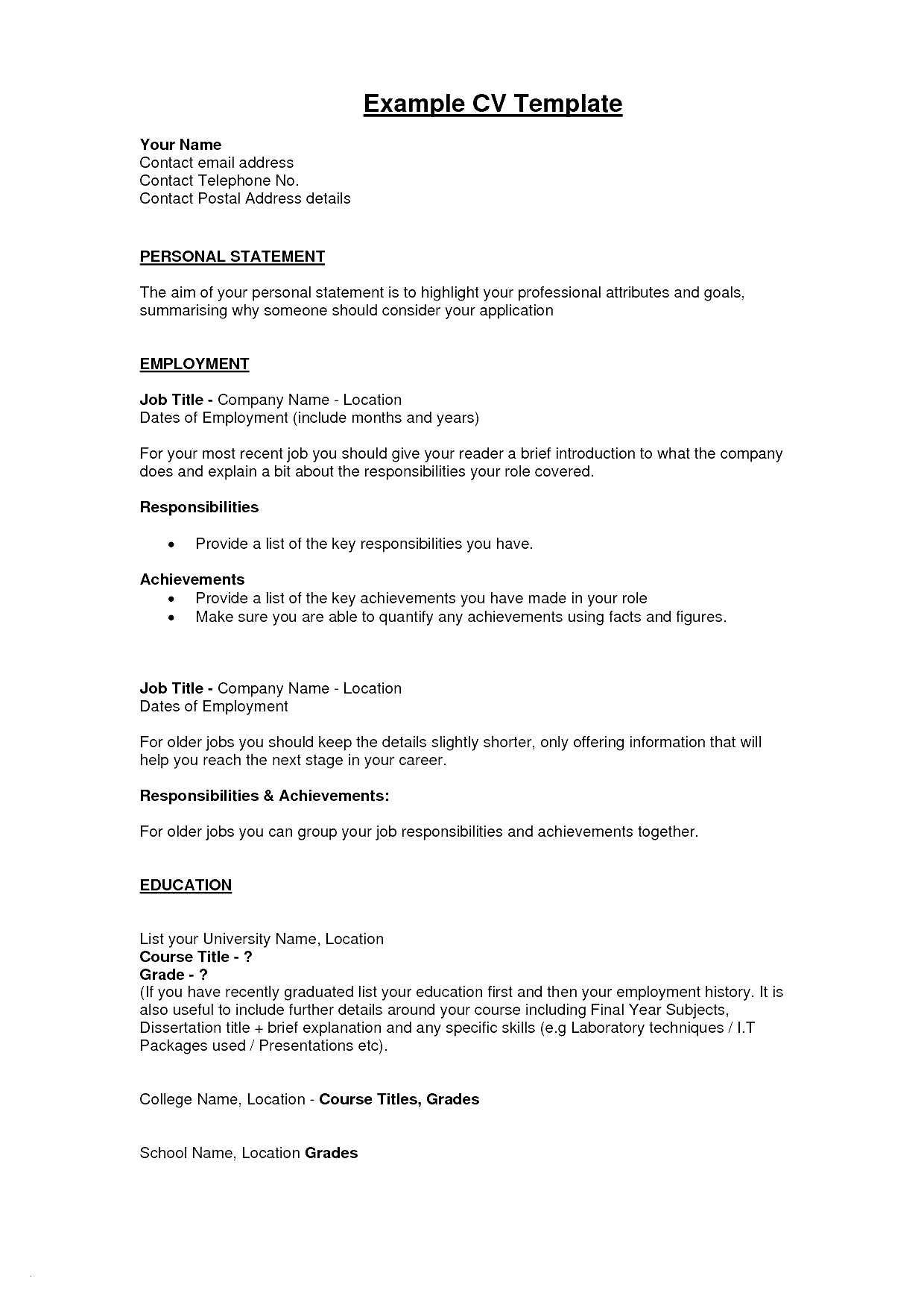 Personal Statement Template Wonderful Chemistry Skills for Resume Awesome Fresh Examples Resumes
