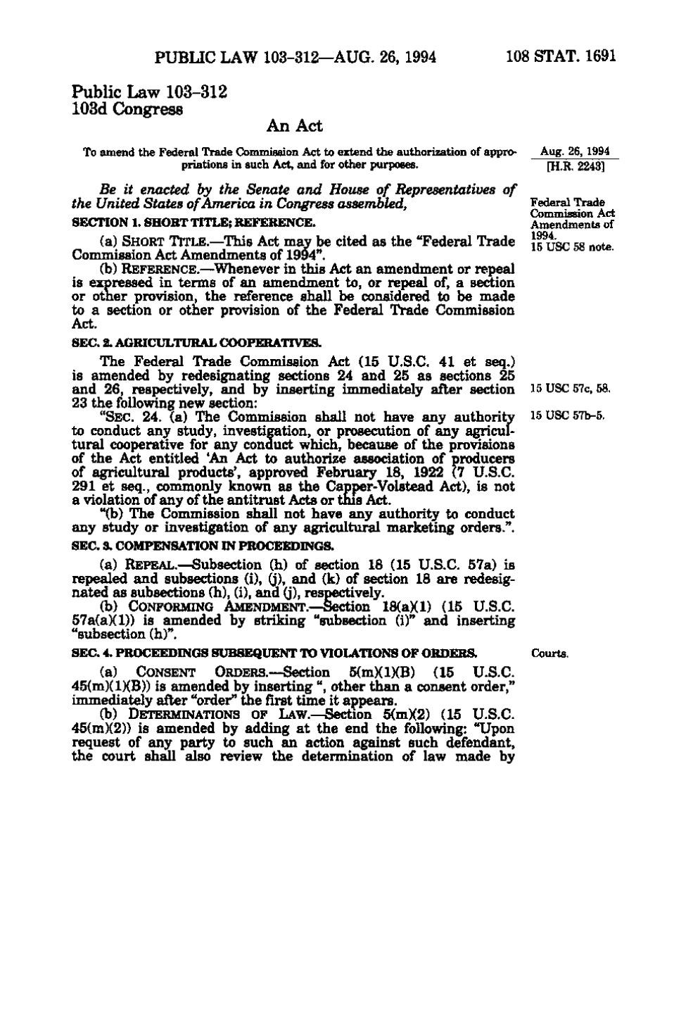 U.s. Federal Trade Commission Great Page United States Statutes at Volume 108 Part 2vu
