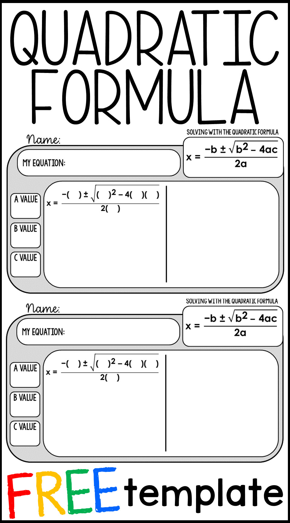 Vertex form Worksheet Great Free Quadratic formula Warm Up Template