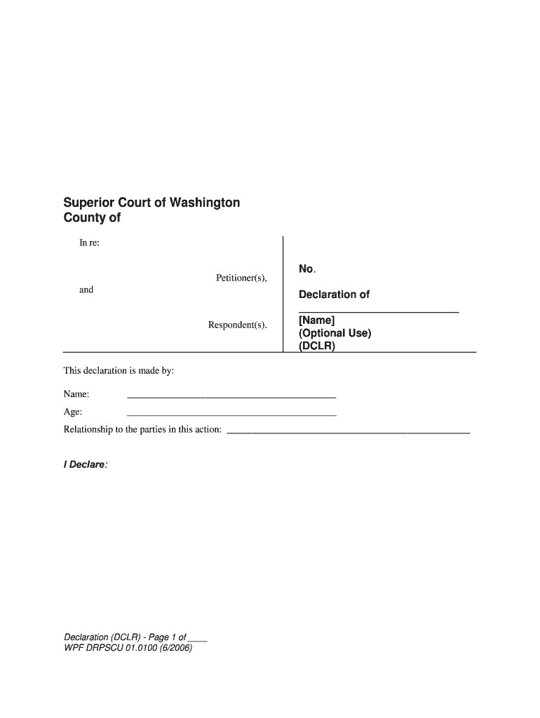 Washington State County Court forms Creative Wa State Declaration form Fill Line Printable Fillable