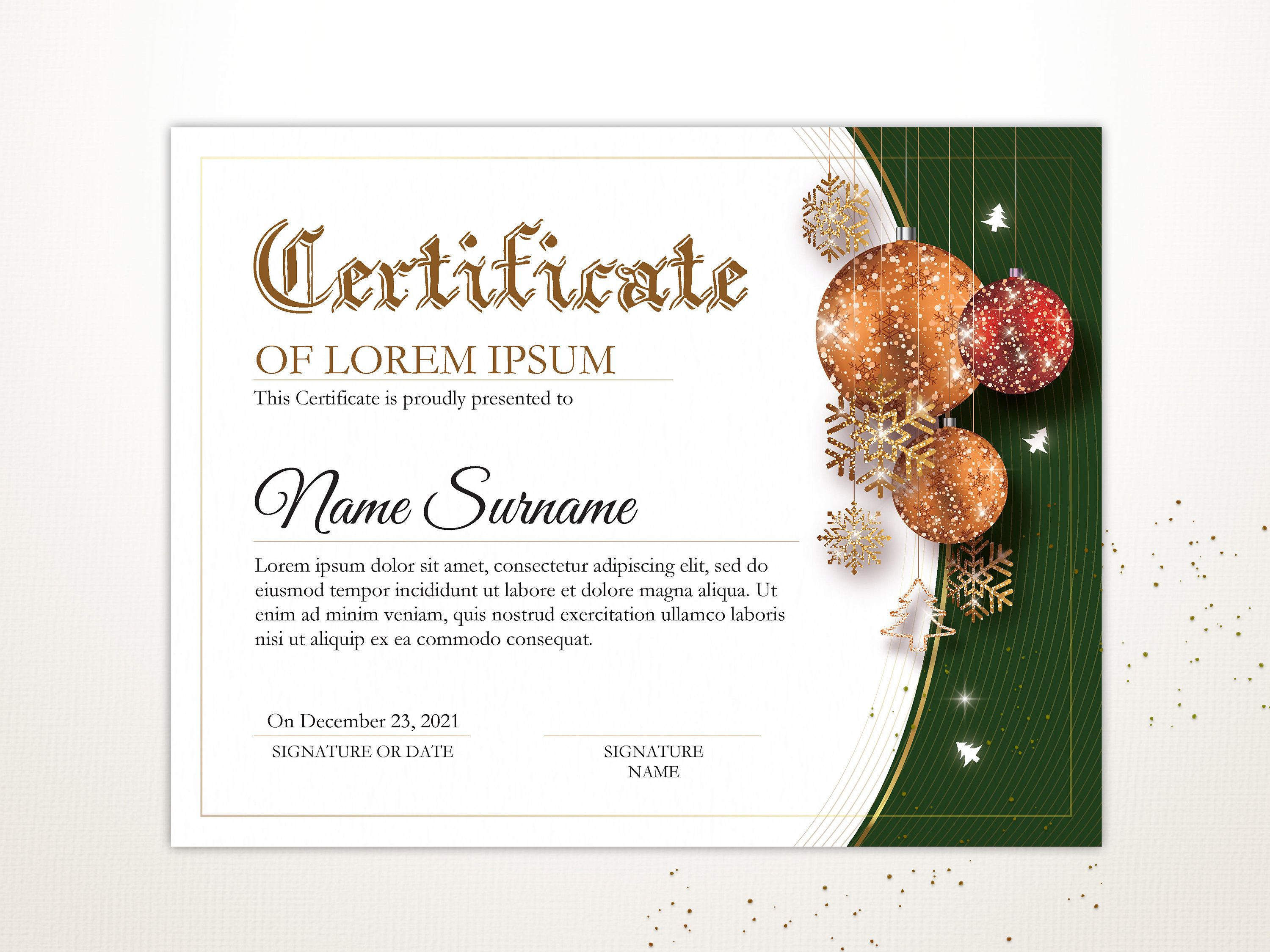 Winner Certificate Template Photos Of Editable Holiday Certificate Template Printable Christmas